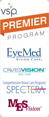 we take vision insurance plans including VSP - we are a VSP Premier Provider, EyeMed, Davis Vision, Spectra, and Medical Eye Services
